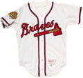Baseball Collectibles:Uniforms, 1996 Rafael Belliard World Series Game Worn Atlanta Braves Jersey with Player Letter. ...