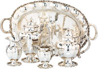 A Five-Piece Mexican Silver Tea and Coffee Service Retailed by Eddie's, Mexico City, 20th century Marks to coffee