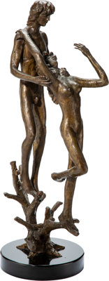 Victor Salmones (Mexican, 1937-1989) Man and Woman on Branches, 1989 Bronze with brown patina 36