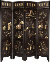 A Chinese Carved Hardstone and Lacquered Hung Ma Wood Floor Screen, early 20th century 82-5/8 x 79 x 1-1/2 inches