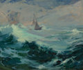 Franz A. Bischoff (American/Austrian, 1864-1929) Sailing on a Stormy Sea Oil on canvas 20 x 24 in