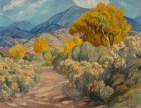 Sheldon Parsons (American, 1866-1943) Quiet Path along the Sagebrush and Cottonwoods, New Mexico Oil