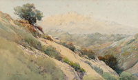 Percy Gray (American, 1869-1952) A Valley View Watercolor on paper laid on board 10 x 17-1/2 inch