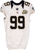 Football Collectibles:Uniforms, 2015 Paul Kruger Game Worn New Orleans Saints Jersey....