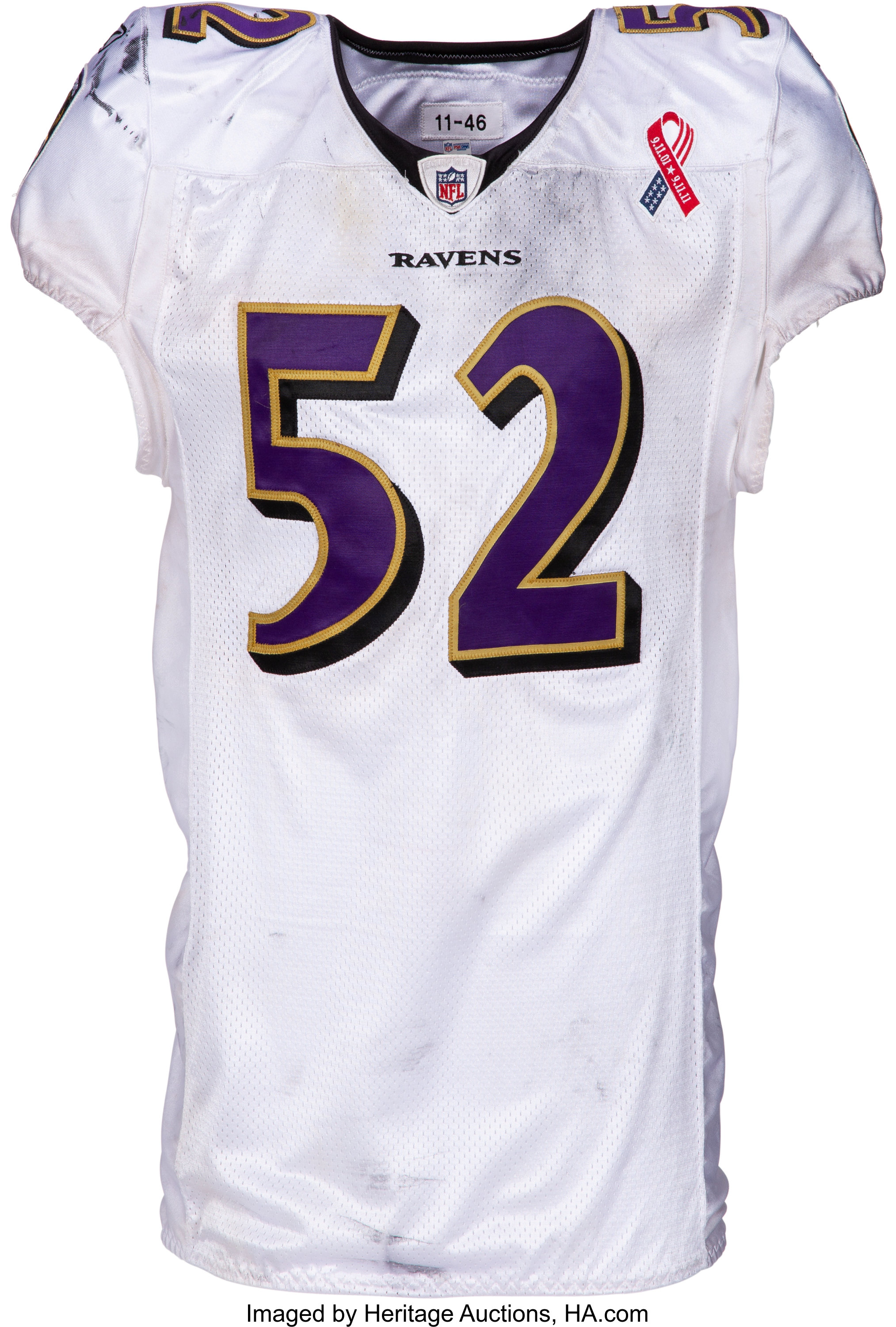 2011 Ray Lewis Game Worn Unwashed Baltimore Ravens Jersey With Lot 53090 Heritage Auctions