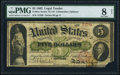 Large Size:Legal Tender Notes, Fr. 61c $5 1862 Legal Tender PMG Very Good 8 Net.. ...