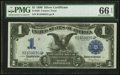 Large Size:Silver Certificates, Fr. 228 $1 1899 Silver Certificate PMG Gem Uncirculated 66 EPQ.. ...