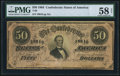 Confederate Notes:1864 Issues, T66 $50 1864 PF-2 Cr. 496 PMG Choice About Unc 58 Net.. ...