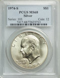 Eisenhower Dollars, 1974-S $1 Silver MS68 PCGS. PCGS Population: (1407/3). NGC Census: (248/2). CDN: $60 Whsle. Bid for NGC/PCGS MS68. Mintage ...