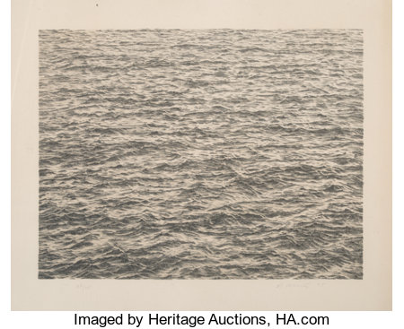 Vija Celmins (b. 1938) Ocean, from Untitled Portfolio, 1975 Lithograph in colors on Twinrocker Handmade Rag paper...