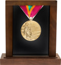 Olympic Collectibles:Autographs, 1984 Los Angeles Summer Olympic Games Salesman's Sample Gold Medal. ...