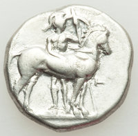 Ancients: CALABRIA. Tarentum. Ca. 340-332 BC. AR stater or didrachm (22mm, 7.69 gm, 1h). Fine, graffiti, flan flaw