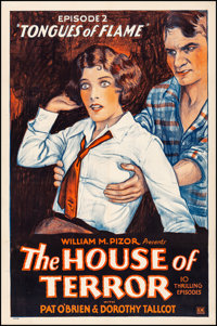 "The House of Terror (William M. Pizor, 1928). Fine+ on Linen. One Sheet (27"" X 41"") Chapter 2 -- ""Tongues..."
