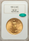 Saint-Gaudens Double Eagles: , 1909-S $20 MS63 NGC. CAC. NGC Census: (1781/1548). PCGS Population: (2154/2413). CDN: $1,575.04.Whsle. Bid for problem-free...
