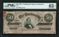 Confederate Notes:1864 Issues, T66 $50 1864 PF-6 Cr. UNL PMG Choice Uncirculated 63 EPQ.. ...