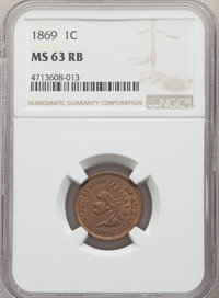 1869 1C MS63 Red and Brown NGC. NGC Census: (51/241). PCGS Population: (130/418). CDN: $800 Whsle. Bid for problem-free...