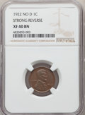 1922 1C No D, Strong Reverse, FS-401, XF40 NGC. NGC Census: (0/0). PCGS Population: (6/9)