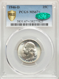 1946-D 25C MS67+ PCGS. CAC. PCGS Population: (72/0 and 10/0+). NGC Census: (243/1 and 3/0+). CDN: $150 Whsle. Bid for pr...