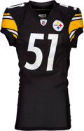 Football Collectibles:Balls, 2011 James Farrior Game Worn, Unwashed Pittsburgh Steelers Jersey....