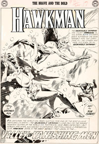 Joe Kubert Brave and the Bold #35 Splash Page 1 Hawkman and Hawkgirl Original Art (DC, 1961)