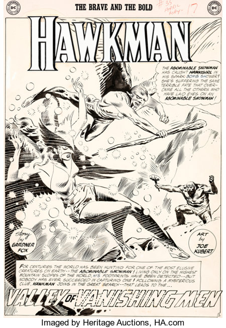 Joe Kubert Brave and the Bold #35 Splash Page 1 Hawkman and Hawkgirl Original Art (DC, 1961)....