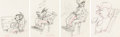 Animation Art:Production Drawing, The Practical Pig Practical Pig and Big Bad Wolf Animation Drawings Sequence of 4 (Walt Disney, 1939).