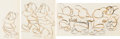 """Animation Art:Production Drawing, Snow White and the Seven Dwarfs """"Washing Song"""" Animation Drawings Sequence of 3 (Walt Disney, 1937)."""