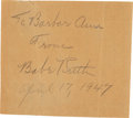 Baseball Collectibles:Others, 1947 Babe Ruth Signed Clipping....