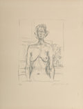 Prints:Contemporary, Alberto Giacometti (1901-1966). Nude with Flowers, 1960. Lithograph on Rives BFK paper. 14-5/8 x 11 inches (37.1 x 27.9 ...