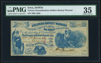 DeWitt, Clinton County, IA- Soldiers Bounty Warrant $1 Oct., 1862 PMG Choice Very Fine 35