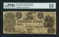 Mineral Point, WI- Mineral Point Bank $5 Jan. 1, 1840 G2a PMG Choice Fine 15
