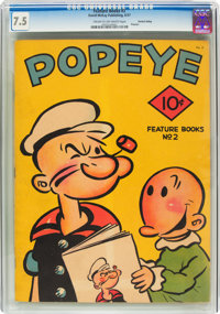 Feature Books #2 Popeye - Central Valley Pedigree (David McKay Publications, 1937) CGC VF- 7.5 Cream to off-white pages...