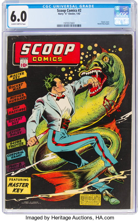 Scoop Comics #2 (Chesler, 1942) CGC FN 6.0 Slightly brittle pages....