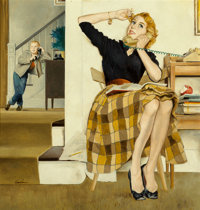 George Hughes (American, 1907-1990) Little Brother Listens In, The Saturday Evening Post cover, Februar