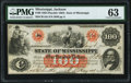 Obsoletes By State:Mississippi, Jackson, MS- State of Mississippi $100 Jan. 8, 1862 Cr. 1Ab PMG Choice Uncirculated 63.. ...