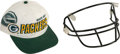 Football Collectibles:Others, 1996-97 Brett Favre Game Worn Facemask & Green Bay Packers Cap. ...