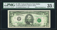 Full Back to Face Offset Error Fr. 1985-K $5 1995 Federal Reserve Note. PMG Choice Very Fine 35 EPQ