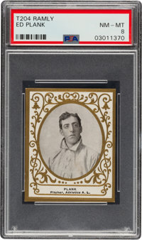 1909 T204 Ramly Ed Plank PSA NM-MT 8 - Pop Two, None Higher