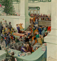 Thorton Utz (American, 1914-1999) Love's Lost Child at the Information Booth, The Saturday Evening Post cover</...