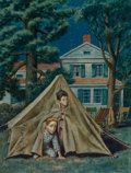 Fine Art - Painting, American, Amos Sewell (American, 1901-1983). Backyard Campers, The Saturday Evening Post cover, September 5, 1953