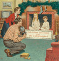 American, Amos Sewell (American, 1901-1983). Christmas Greetings, The Saturday Evening Post cover, December 11, 1954. Gouache on b...
