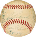 Baseball Collectibles:Others, 1951 Kansas City Blues Team Signed Baseball, Program & Ticket Stubs with Vintage Mickey Mantle Autograph.... (Total: 3 items)