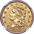 1834 $2 1/2 No Motto, Large Head, HM-2, R.3, MS61+ NGC. The prominent hair curls atop Liberty's head and the widely spac...