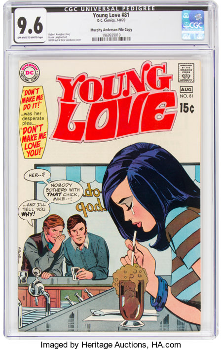 Young Love #81 Murphy Anderson File Copy (DC, 1970) CGC NM+ 9.6 Off-white to white pages....