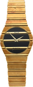 Timepieces:Wristwatch, Piaget, Heavy 18k Gold Polo, Ref. 791 C701 D, For Repair. ...