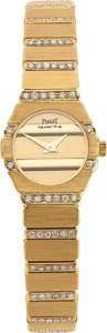 Timepieces:Wristwatch, Piaget, 18k Gold & Diamond Polo, Ref. 841 C 701, Circa 1980's. ...