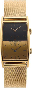 Timepieces:Wristwatch, Baume & Mercier, 18k Gold Duo Dial, Manual Wind, Ref. 32002, Circa 1970's. ...