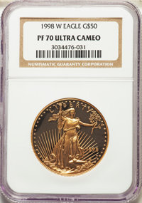 1998-W $50 One-Ounce Gold Eagle PR70 Ultra Cameo NGC. NGC Census: (682). PCGS Population: (175). CDN: $1,700 Whsle. Bid...