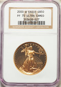 2000-W $50 One-Ounce Gold Eagle PR70 Ultra Cameo NGC. NGC Census: (904). PCGS Population: (210). CDN: $1,700 Whsle. Bid...