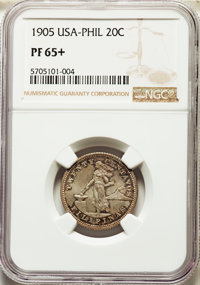 1905-S 20C Twenty Centavos MS65+ NGC. NGC Census: (0/0 and 0/0+). PCGS Population: (0/0 and 0/0+)